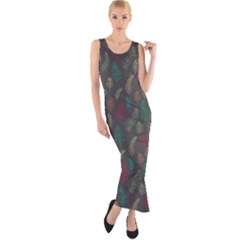 Whimsical Feather Pattern, autumn colors, Fitted Maxi Dress