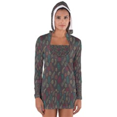 Whimsical Feather Pattern, autumn colors, Women s Long Sleeve Hooded T-shirt