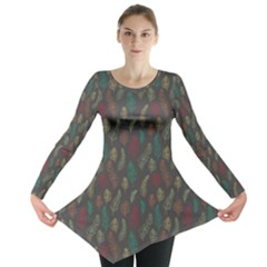 Whimsical Feather Pattern, Autumn Colors, Long Sleeve Tunic
