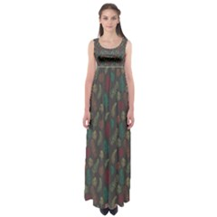 Whimsical Feather Pattern, autumn colors, Empire Waist Maxi Dress
