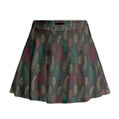 Whimsical Feather Pattern, Autumn Colors, Mini Flare Skirt