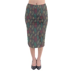 Whimsical Feather Pattern, Autumn Colors, Midi Pencil Skirt