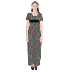 Whimsical Feather Pattern, Autumn Colors, Short Sleeve Maxi Dress