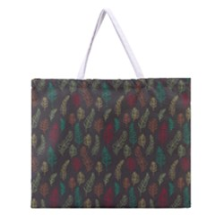 Whimsical Feather Pattern, Autumn Colors, Zipper Large Tote Bag