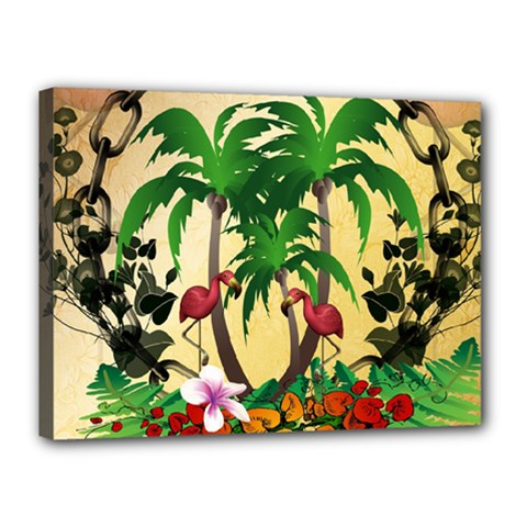 Tropical Design With Flamingo And Palm Tree Canvas 16  x 12