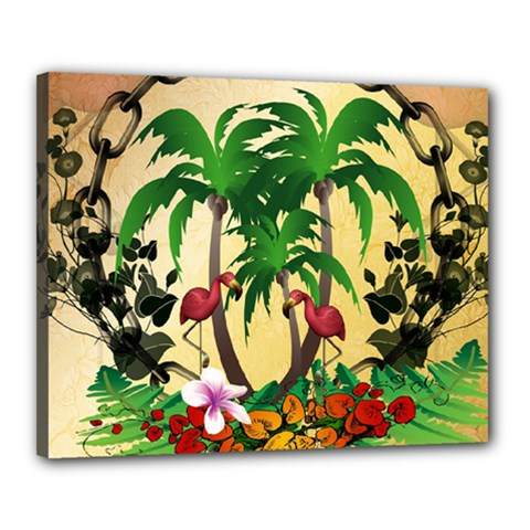 Tropical Design With Flamingo And Palm Tree Canvas 20  x 16