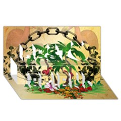 Tropical Design With Flamingo And Palm Tree Best Friends 3D Greeting Card (8x4)