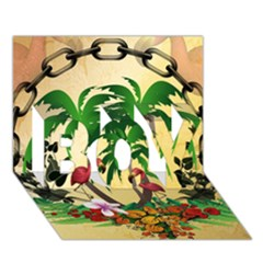 Tropical Design With Flamingo And Palm Tree Boy 3d Greeting Card (7x5)