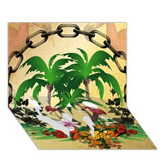 Tropical Design With Flamingo And Palm Tree LOVE Bottom 3D Greeting Card (7x5)