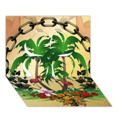 Tropical Design With Flamingo And Palm Tree Clover 3D Greeting Card (7x5)