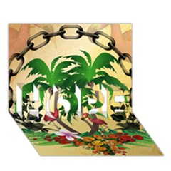 Tropical Design With Flamingo And Palm Tree HOPE 3D Greeting Card (7x5)