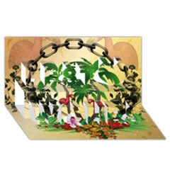 Tropical Design With Flamingo And Palm Tree Best Wish 3D Greeting Card (8x4)