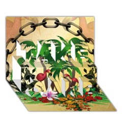 Tropical Design With Flamingo And Palm Tree TAKE CARE 3D Greeting Card (7x5)