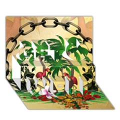 Tropical Design With Flamingo And Palm Tree Get Well 3D Greeting Card (7x5)