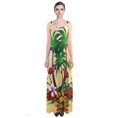 Tropical Design With Flamingo And Palm Tree Sleeveless Maxi Dress