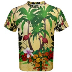 Tropical Design With Flamingo And Palm Tree Men s Cotton Tee