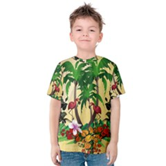 Tropical Design With Flamingo And Palm Tree Kid s Cotton Tee