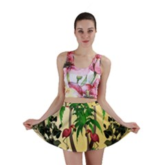 Tropical Design With Flamingo And Palm Tree Mini Skirt