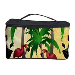 Tropical Design With Flamingo And Palm Tree Cosmetic Storage Cases