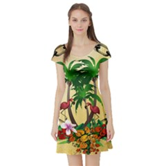 Tropical Design With Flamingo And Palm Tree Short Sleeve Skater Dress