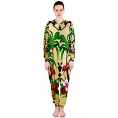 Tropical Design With Flamingo And Palm Tree OnePiece Jumpsuit (Ladies)