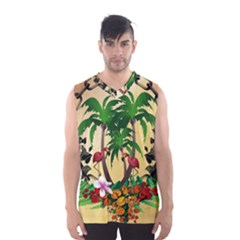 Tropical Design With Flamingo And Palm Tree Men s Basketball Tank Top