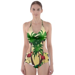 Tropical Design With Flamingo And Palm Tree Cut-Out One Piece Swimsuit
