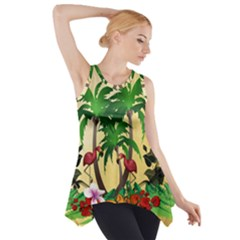 Tropical Design With Flamingo And Palm Tree Side Drop Tank Tunic