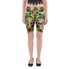 Tropical Design With Flamingo And Palm Tree Yoga Cropped Leggings