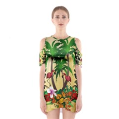 Tropical Design With Flamingo And Palm Tree Cutout Shoulder Dress