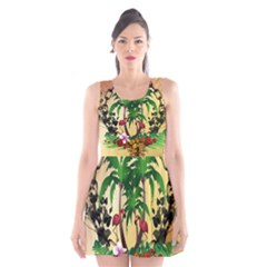 Tropical Design With Flamingo And Palm Tree Scoop Neck Skater Dress