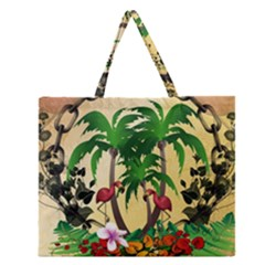 Tropical Design With Flamingo And Palm Tree Zipper Large Tote Bag