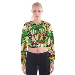 Tropical Design With Flamingo And Palm Tree Women s Cropped Sweatshirt