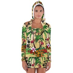 Tropical Design With Flamingo And Palm Tree Women s Long Sleeve Hooded T Shirt