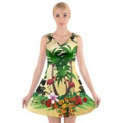 Tropical Design With Flamingo And Palm Tree V-Neck Sleeveless Skater Dress