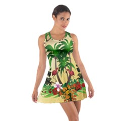 Tropical Design With Flamingo And Palm Tree Racerback Dresses