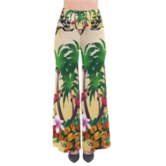 Tropical Design With Flamingo And Palm Tree Pants