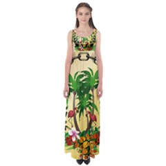 Tropical Design With Flamingo And Palm Tree Empire Waist Maxi Dress