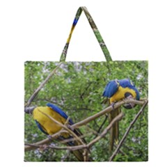 South American Couple Of Parrots Zipper Large Tote Bag