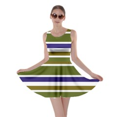 Olive Green Blue Stripes Pattern Skater Dress