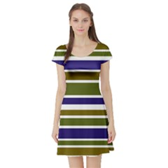Olive Green Blue Stripes Pattern Short Sleeve Skater Dress