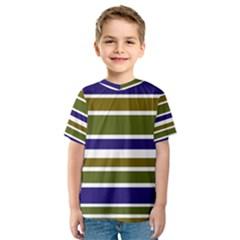 Olive Green Blue Stripes Pattern Kid s Sport Mesh Tee