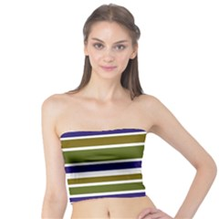 Olive Green Blue Stripes Pattern Tube Top