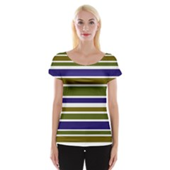 Olive Green Blue Stripes Pattern Women s Cap Sleeve Top