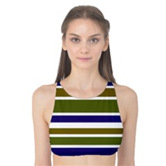 Olive Green Blue Stripes Pattern Tank Bikini Top