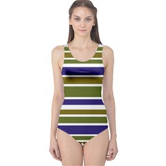 Olive Green Blue Stripes Pattern One Piece Swimsuit