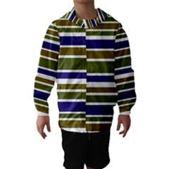Olive Green Blue Stripes Pattern Hooded Wind Breaker (Kids)