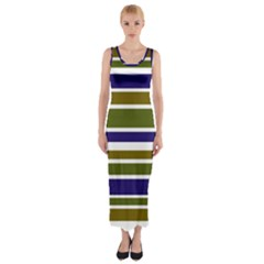 Olive Green Blue Stripes Pattern Fitted Maxi Dress