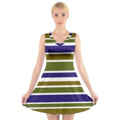 Olive Green Blue Stripes Pattern V-Neck Sleeveless Skater Dress