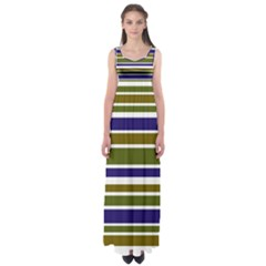 Olive Green Blue Stripes Pattern Empire Waist Maxi Dress